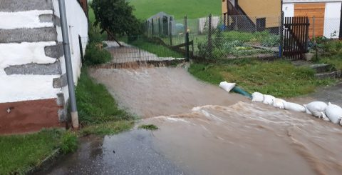 Überflutung Dorfgebiet Kirchbach